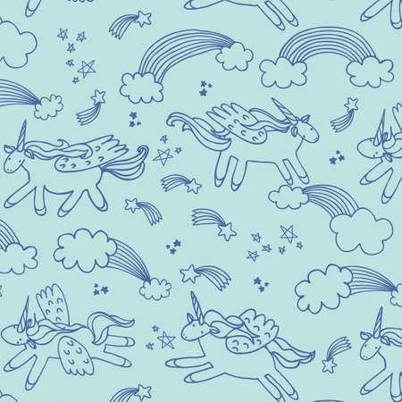 wonderland unicorn stars ice cream vector line pattern