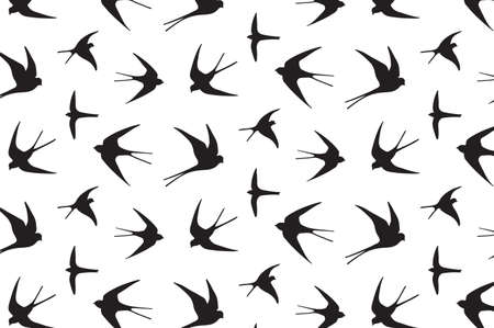 japanese swallow vector hand drawing graphic pattern Иллюстрация