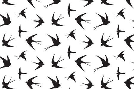 golondrinas: japonés golondrina de dibujo vectorial patrón gráfico de la mano