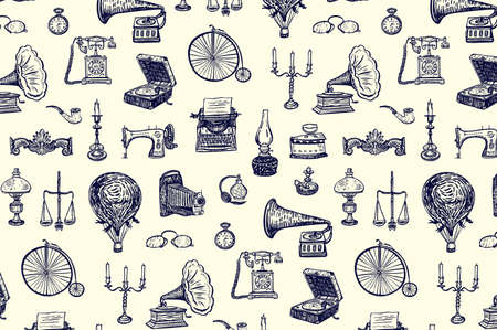 vintage objects: vintage objects history vector line drawing pattern