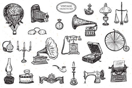 vintage objects history vector line drawing set