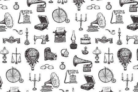 vintage objects history vector line drawing pattern
