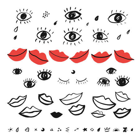 set with hand drawn eyes and red lips. 向量圖像