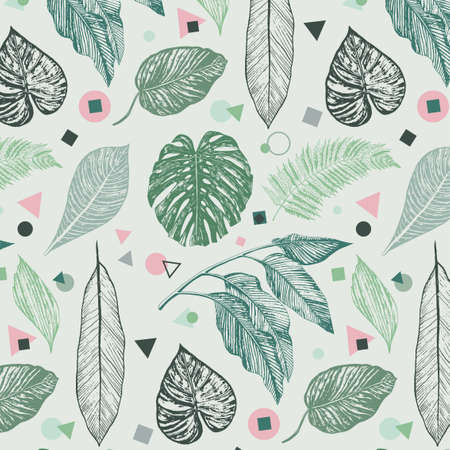 tropical palm leaves pattern 向量圖像