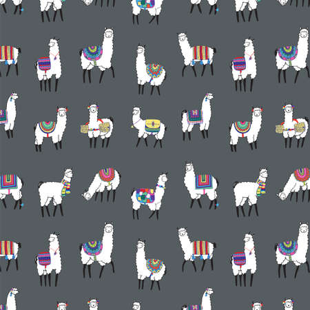 pattern: lama animal vector color pattern