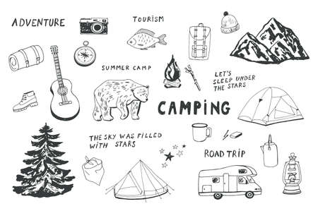 camping objects set. 向量圖像