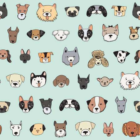 dog face cartoon vector seamless pattern 向量圖像