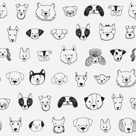 dog face cartoon vector seamless pattern Çizim