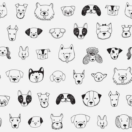 dog face cartoon vector seamless pattern Illustration
