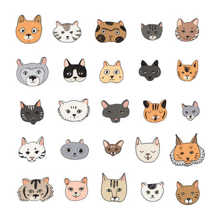 Cats faces cartoon doodle vector illustrations set 向量圖像