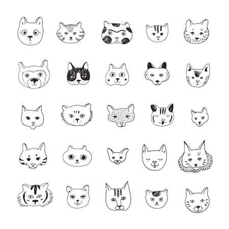 Cats faces cartoon doodle vector hand drawn illustrations set 向量圖像