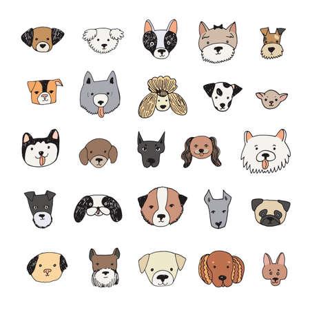 dog face cartoon vector illustrations set
