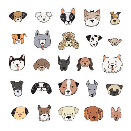 dog face cartoon vector illustrations set