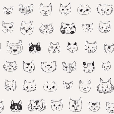 Cats faces doodle vector seamless pattern.