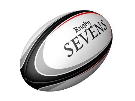 punt: Rugby ball with Rugby Sevens etched into it Stock Photo
