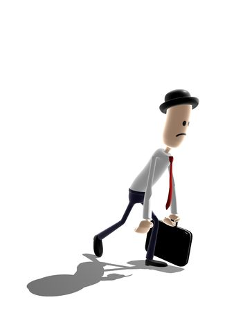 sacked: Cartoon style businessman trudging along. Could be used to for many concepts such as failure, overworked, disappointed, unhappy