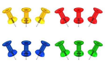 Four different colored push pins each in three different positions. Design components. photo