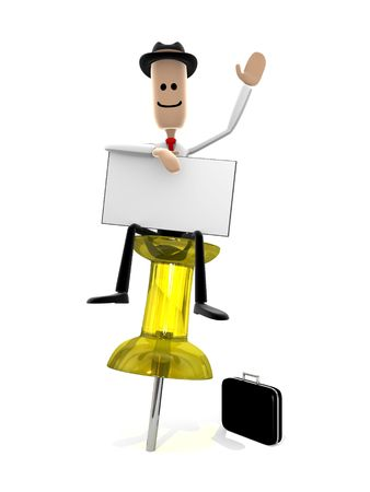 signify: Businessman sitting on a pushpin with a message card. Could be used to signify a reminder or important note