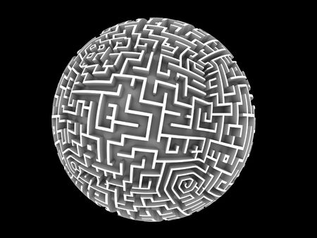 A maze wrapped around a sphere. Design component. photo
