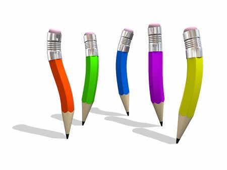 Five different colored, and curvy shaped pencils - Design component. Stock Photo - 888368