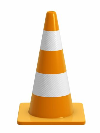 diversion: A road cone with reflective bands. Design component. Direct side view version