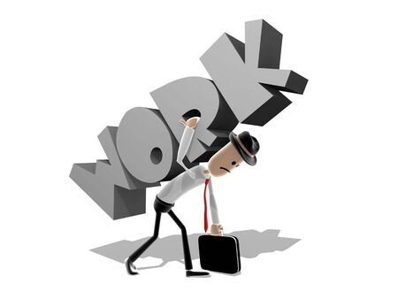 cary: Cartoon style worker struggling to cary a giant version of the word Work. Concept for the impact that work can have.