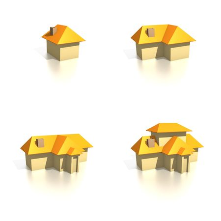 ranging: Four house icons ranging from small to large. Design components useful for real estate or perhaps to show extension to a  home.