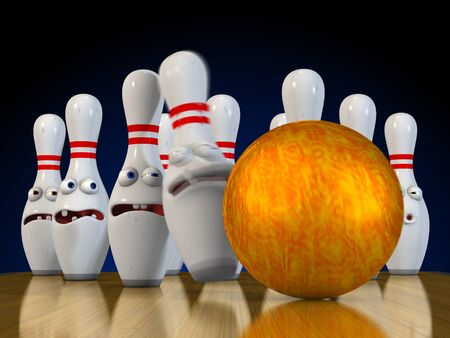 Ten pin bowling pins ready to be bowled over bracing for impact from the bowling ball