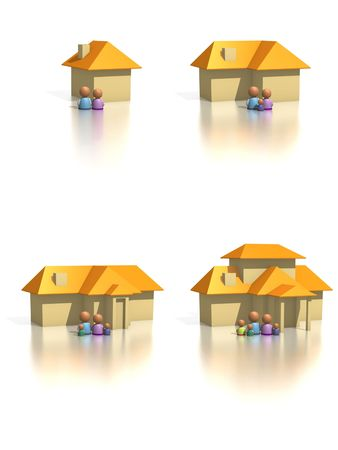 ranging: Four house icons ranging from small to large with growing . Design components useful for real estate or perhaps to show extension to a  home. Stock Photo