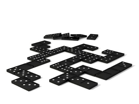 parlour games: Dominos laid out as though partway through a game