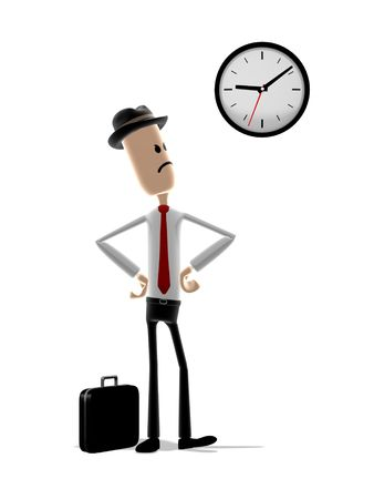 tardy: Cartoon man looks angrily at the clock as he waits for someone