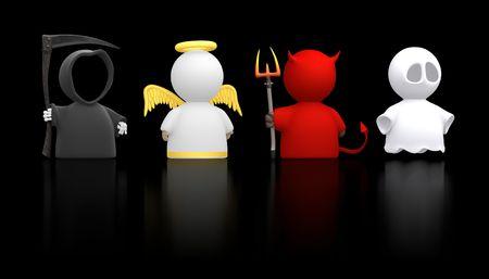 infierno: La muerte, un �ngel, el diablo y un esp�ritu como icono de caracteres. Podr�a utilizarse para conceptos religiosos, halloween, humor, parte del traje. Utilizar de forma conjunta o cortar aparte.  Foto de archivo