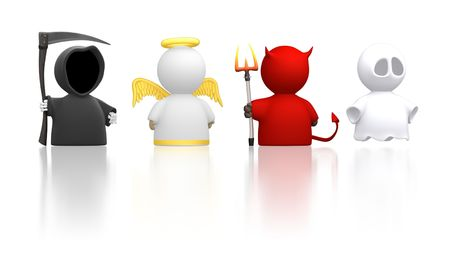 heaven and hell: Death, an Angel, the Devil and a Ghost as icon characters. Could be used for religious concepts, halloween, humour, costume party. Use together or cut apart.