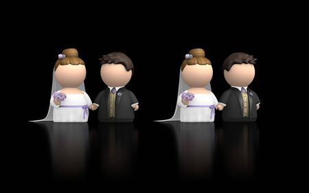 getting married: Bride and Groom characters at wedding getting married. Two versions in same image, facing each other and both facing forward. 3D render against black and with reflection. Stock Photo