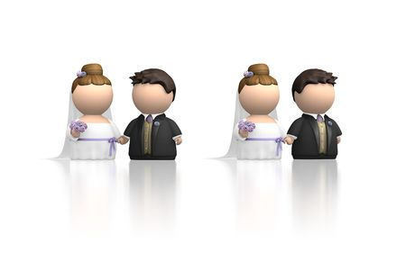 getting a bride: Bride and Groom characters at wedding getting married. Two versions in same image, facing each other and both facing forward. 3D render against white and with soft reflection. Stock Photo