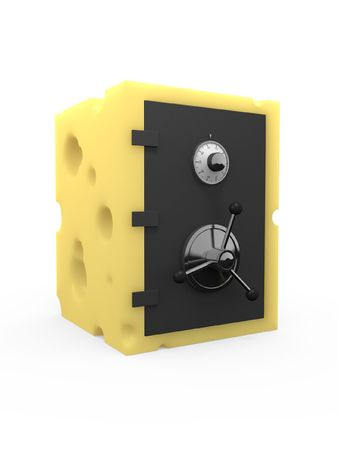 inadequate: Safe or vault made out of swiss cheese with lots of holes. Concept for poor security