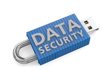 usb storage device: Locked USB device depicting the security of data on portable storage devices Stock Photo