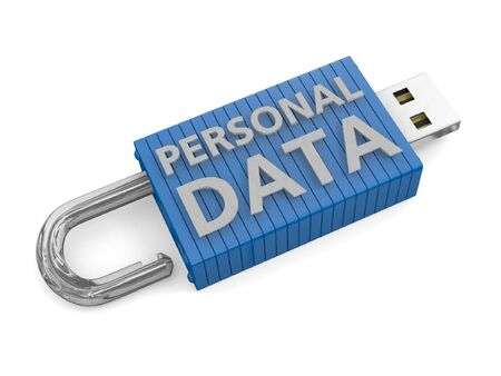 personal information: USB key unlocked depicting a loss or risk to personal data Stock Photo