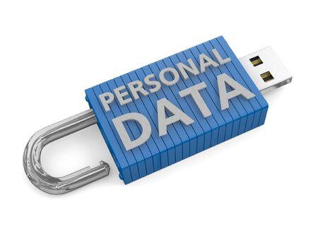 lekken: USB-sleutel ontgrendeld beeltenis van een verlies of een risico voor persoonlijke gegevens Stockfoto