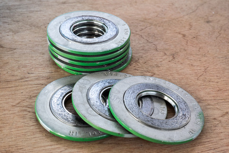 gasket: Spiral wound gasket for piping system Stock Photo