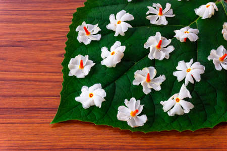 Beautiful parijatham flowers on a green leaf with wooden background