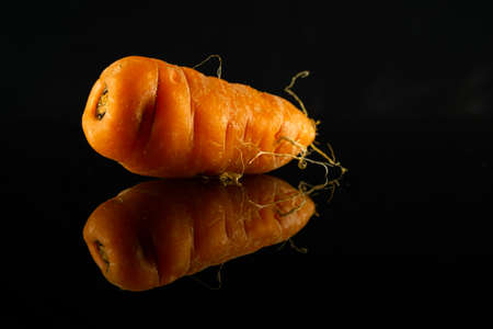 Fresh and Colorful carrot with reflection on dark background