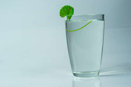 Fresh and healthy Glass of tender coconut water on a white background