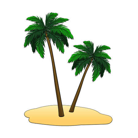 the island with palm trees on a white background isolated. vector illustration