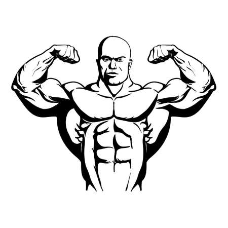 very strong muscular athlete bodybuilder shows biceps vector illustration