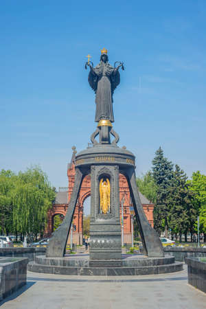 Saint Catherine Bell at the Central district of Krasnodar. Monument of holy Great Martyr Catherine near The Royal Gates