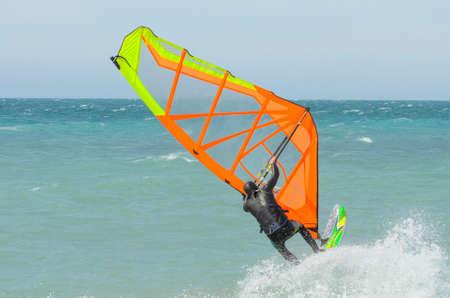 Windsurfer rides in the Black sea. Anapa, Krasnodar region, Russia Banco de Imagens