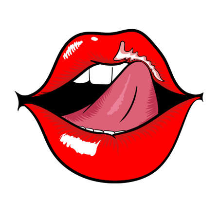 Woman open mouth with red lips and licking tongue