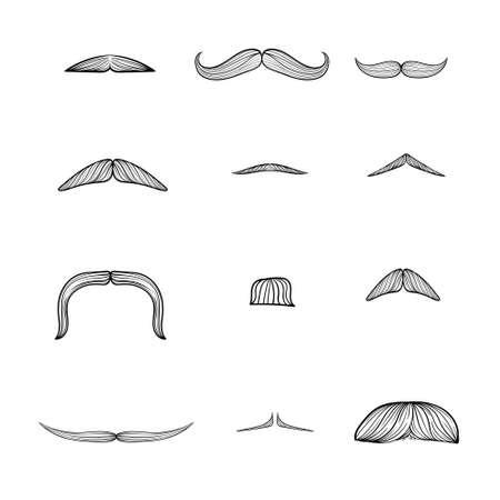moustache set, manhood, humorous mask, icon cartoon hand drawn vector illustration sketch Ilustração Vetorial