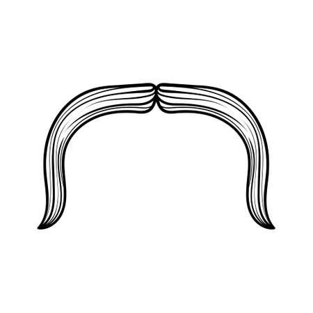 Schnurrbart-Set, Männlichkeit, humorvolle Maske, gezeichnete Vektorillustrationsskizze der Symbolkarikaturhand
